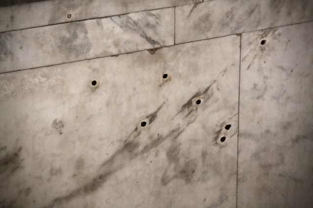 Bullet holes in the Museum of the Revolution